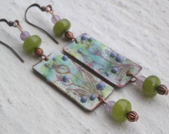Floral enameled copper earrings and pearls
