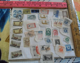 33 Vintage 50's 4 cent stamps - all cancelled - assortment mix