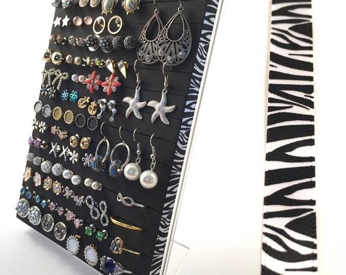 Ring & Earring Display - Zebra Ribbon - Jewelry Organizer