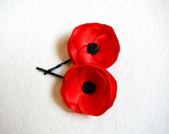 Poppy hair flowers Red Poppy hair pins Bridal poppy pins Poppy wedding flowers Bridesmaids poppies Barrettes Girls hair clips Poppy sew on