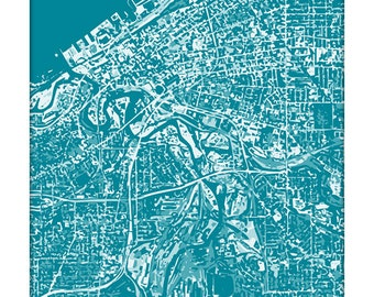 Cleveland Cityscape Art Print / Ohio Aerial City Map Wall Art / 8x10 / Choose your Color