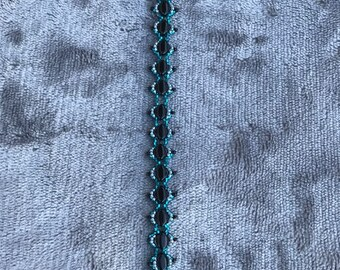 Teal, Gray, and Black Seed Bead Bracelet