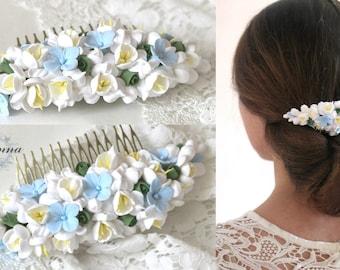 blue comb, flower comb, wedding stuff, bride comb, fresia corsage, bridesmaids comb, gift for her, hydrangea headband, hydrangea comb, blue