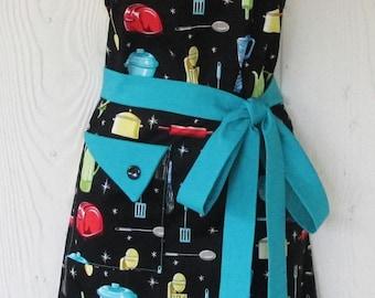 Retro Apron, Womens Apron, Kitchen Utensils Apron, Vintage Style, Kitchen Ware, KitschNStyle