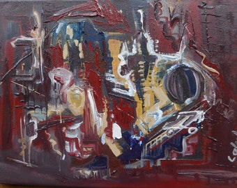 "Original Abstract Oil Painting by Nalan Laluk: ""Technocracy"""