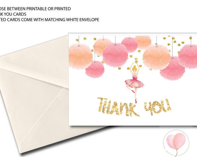 Ballet Thank You Card // Folded Thank You // Ballerina // Peach // Blush // Pink // Gold Glitter // Dance // Printed// VIENNA COLLECTION