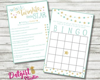 Twinkle Twinkle Little Star Baby Shower Games mommy or daddy and Bingo  - Neutral/Boy/Girl/ PINK, MINT, BLUE