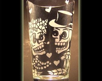 Day Of The Dead Art Bone Skeleton Wedding Pint Beer Glass Sandblasted