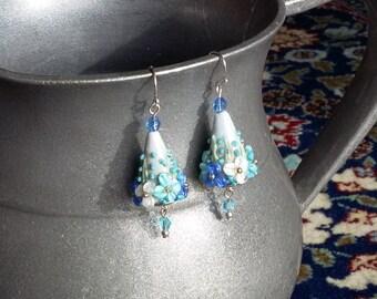 Handmade flower garden earrings