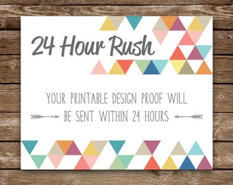 24 Hour Rush Delivery | Printable Proof Sent within 24 hours | Any Birthday Printable Digital File