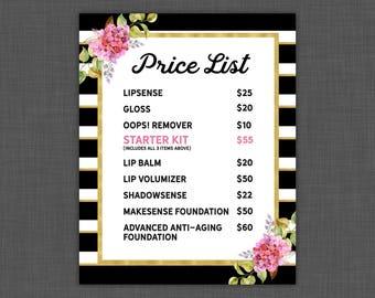 LipSense Price List - LipSense Prices - Floral With Stripes - Pricing Sheet 8x10