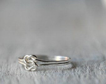 Sterling Silver ring with two Love Knots, Love, friendship, BFF, anniversary, birthday