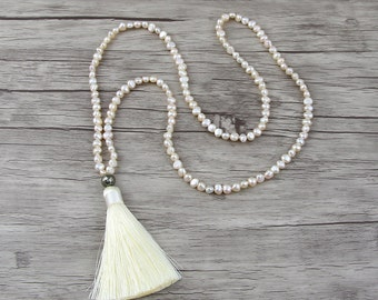 White Freshwater pearl necklace Tassel pearl necklace Long pearl necklace Boho bead necklace bead tassel necklace Pearl jewelry NL-006