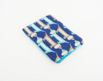 Tissue holder, dachshund fabric, blue cotton sausage dog design, cotton case