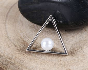5 pendants Triangle and Pearl silver 2cm / geometric