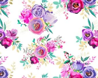 Rainbow Floral Baby or Toddler Blanket - Floral Minky Blanket - Baby Girl Crib Bedding - Toddler Bedding - WatercolorToddler Blanket