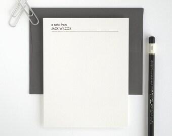 Custom Letterpress Stationery Set - Personalized Flat Note Set - Mid-Century Modern - Utility