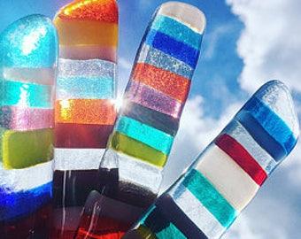 Fused glass suncatcher, glass light catcher, fan pull, fused glass art, colorful suncatcher, multicolored glass art, striped suncatcher