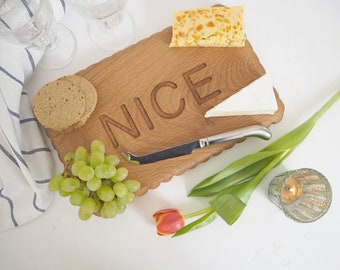 Biscuit chopping board - nice biscuit - five year anniversary - Cutting board - rustic sharing platter - oak cheese board- housewarming gift