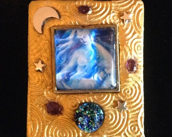 Moon Goddess Selene Diana Luna Pendant Druzy Original Art Necklace