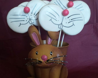 Cute Easter Bunny Face Decorated Sugar Cookie Pops (4 inch) -1 dozen