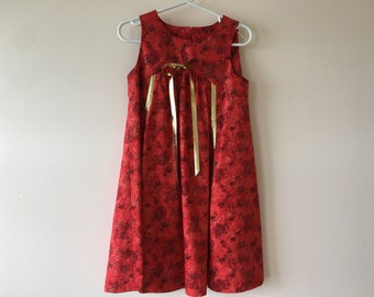 Girl's Red Gold Dress, Special Occasion Girl's Size 4, KUTE KIDS Party Dress, Unique Children's Dress, Party Dress, Flower Girl Dress