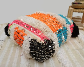 Vintage Wedding Blanket Handira Floor Pillow Pouf Moroccan Ottoman Pouf Sequins 03YL0492