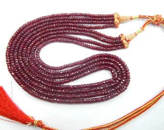 25% discount holiday sale 399.40 CT 3x4 mm 19'' micro faceted natural Ruby Gemstone Beads, ruby gemstone necklace 4 strand in 1 necklace