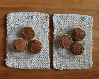 RV Sized White & Cream Placemats Mini Knitted Artisan Upcycled T Shirts Cottage French Country 10x14 (set of 2) --US Shipping Included