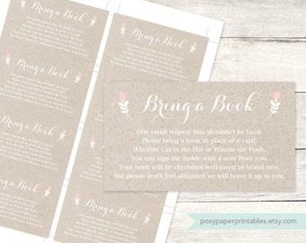 bring a book instead of a card insert printable baby shower DIY kraft pink floral gender neutral digital shower games - INSTANT DOWNLOAD