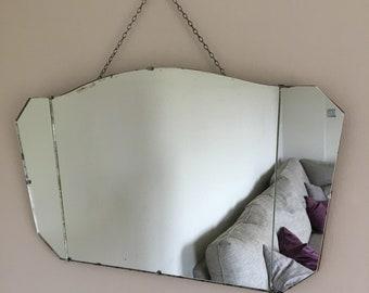 Vintage Bevelled Edge Frameless Art Deco Wall Mirror 64cmx40cm
