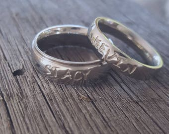 Hand Stamped Couples Name Ring Set Personalized  Shiny Stainless Steel comfort fit His and Hers Set