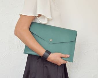 Green Leather Clutch, Green Clutch, Jade Green Purse, Leather Clutch, Leather Handbag, Green Envelope, Clutch
