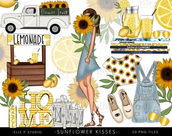 Sunflower Kisses Clipart Bundle /Planner Clipart Bundle / Sunflower Clipart
