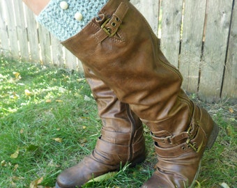 Hand Crochet Boot Cuffs, Seafoam Green Wool Boot Topper, Faux Legwarmers Sock Tops Knit Leg Warmers Boot Warmers