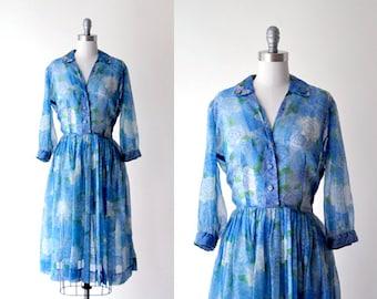 1950's blue dress. 50 sheer dress. full skirt. large dress. chiffon dress. summer. 50's blue floral dress