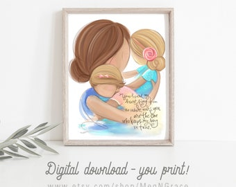 INSTANT DOWNLOAD Mother and Daughters Wall Art Family Picture for Nursery Girls Room
