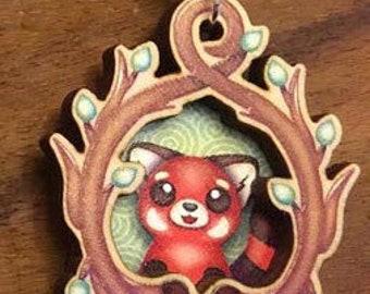Red Panda Shadowbox Necklace