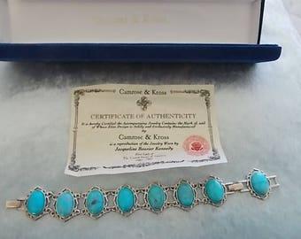 Vintage Silver Bracelet Turquoise Camrose Krosse Copy Jackie Kennedy  GORGEOUS