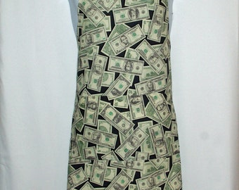 Money Apron, Unique Fun Apron With Money Dollar Bills,Custom Personalized Gift For Friend, With Name, No Shipping Fee, Ships TODAY, AGFT 601