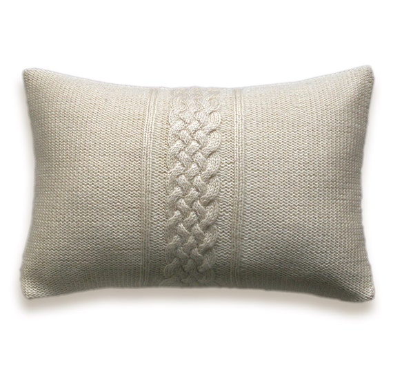 decorative cable knit pillow cover in ivory off white cream. Black Bedroom Furniture Sets. Home Design Ideas