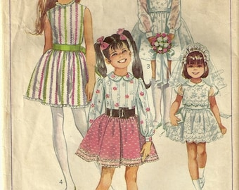 Simplicity 8171 Vintage 60's Girls Confirmation Party Baptism Dress Sewing Pattern Size 6
