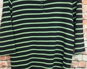 80's Top Blouse Women's ,LL Bean ,Size L 100% Cotton Striped