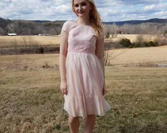 Vintage 50s Pink Party Dress S