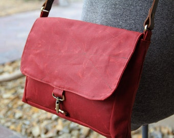 tobasco red waxed canvas messenger - waxed canvas tote - waxed canvas messenger
