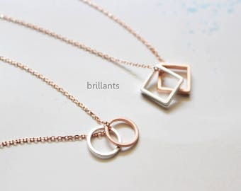 Rose gold and Silver Geometric necklace, Square necklace, Circle necklace,  Layer, Bridesmaid gift, Everyday necklace, Wedding necklace