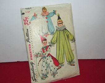 """Vintage Children's Sewing Pattern, """"Simplicity #4864"""" , Clown Costumes"""