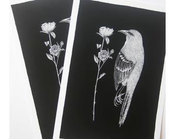 Mocking bird art print, pointillism ink drawing, black and white flower art, taxidermy bird specimen, floral feather illustration, wall art
