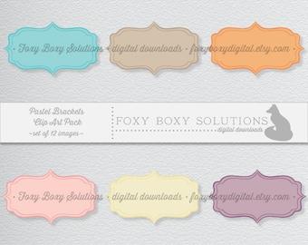 Printable Digital Download Large Pastel Brackets Label Clipart Instant Download for Scrapbooking & Digital Scrapbooking Crafting Printables