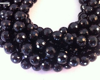 33 pcs faceted round black onyx in 12mm